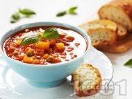 Зеленчукова супа с картофи, грах и домати